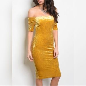 Dresses & Skirts - Gold velvet midi dress